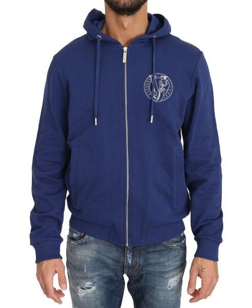 Hooded Blue Cotton Full Zipper Sweater
