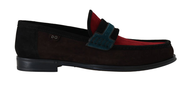 Brown Red Suede Moccasins Loafers