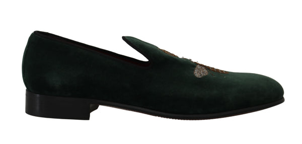 Green Velvet Gold Royal Bee Loafers