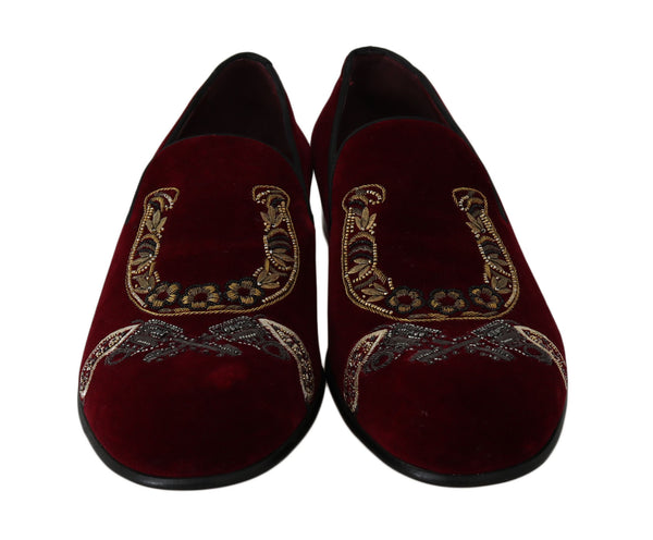 Bordeaux Velvet Loafers Gun Horseshoe Shoes