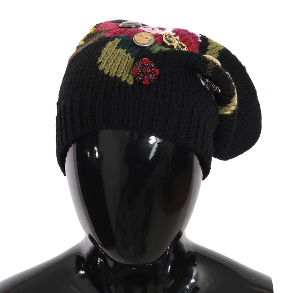 Black Wool Crystal Studded Knitted Floral Beanie Hat