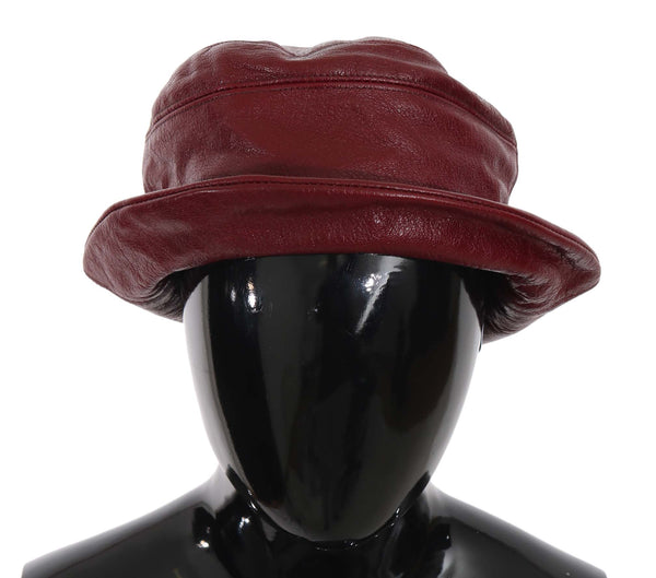 Bordeaux Soft Leather Boater Bucket Hat