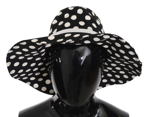 Black Polka Dot Wide Brim Cotton Hat