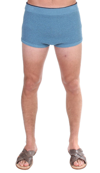 Blue Cotten Blend Logo Casual Short Shorts