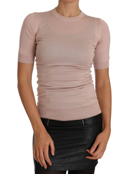 Pink Cashmere Short Sleeved Knit Top