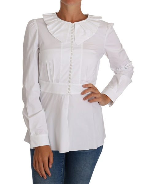 White Fitted Cotton Blouse Stretch Shirt