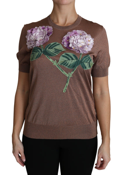 Brown Flower Hydrangea Embroidered Top Shirt