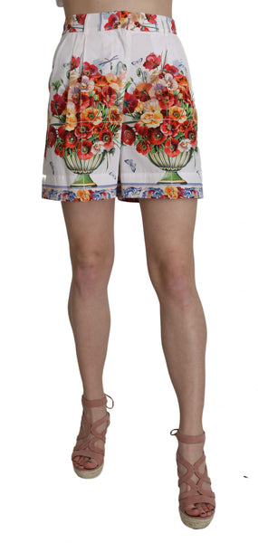 High Waist Floral Print Cotton Majolica  Shorts