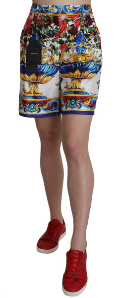 Multicolor Print Silk City Majolica Shorts