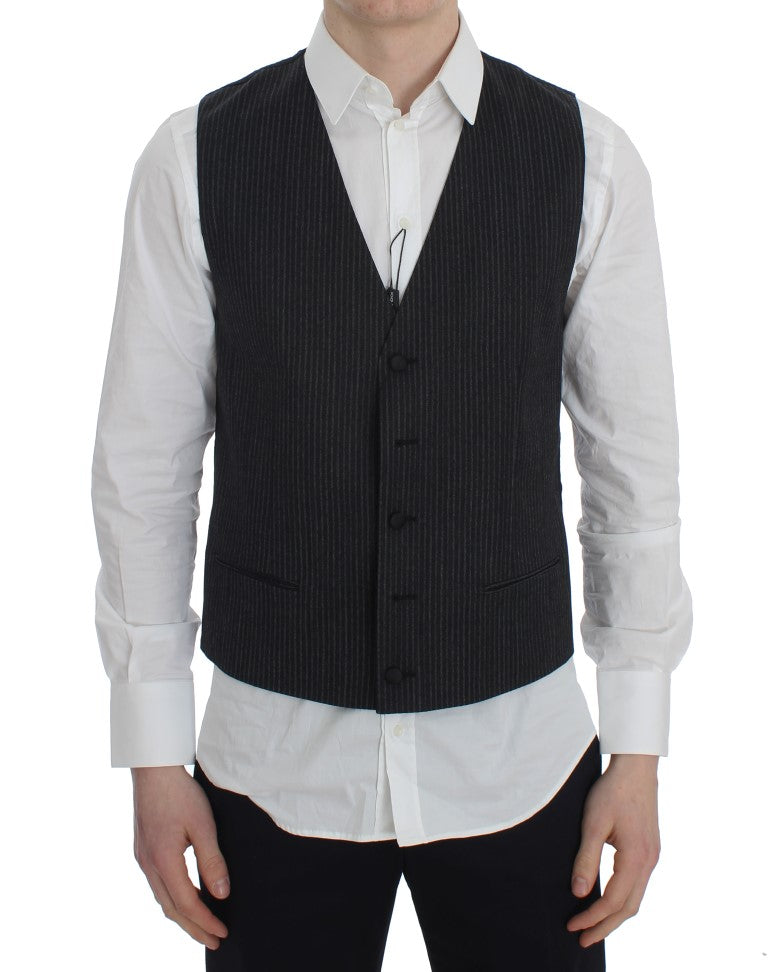 Gray Striped Formal Vest
