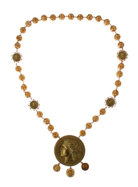 Gold Brass MONETE Roman Coin Necklace