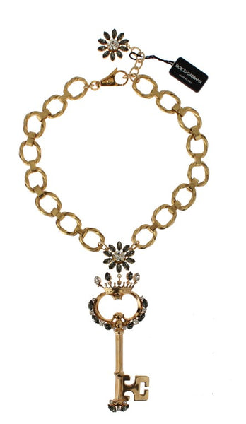 Gold Brass Crystal Sacred Crown Key Necklace