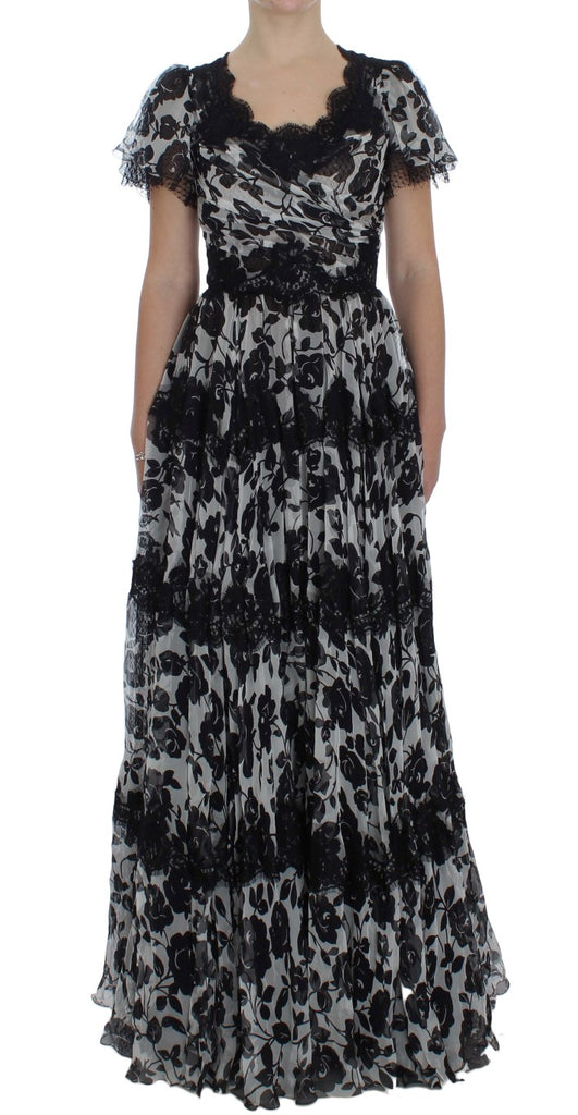 Black Silk Floral Lace Ricamo Ball Maxi Dress