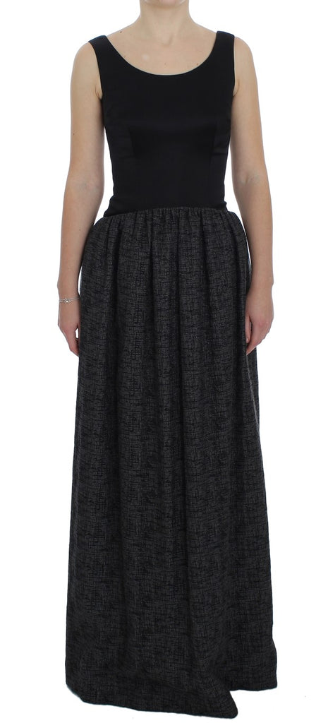 Black Gray Sheath Gown Full Length Dress