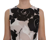 Black White Floral Silk Sheath Gown Dress