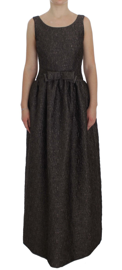 Gray Brocade Sheath Full Length Gown Dress