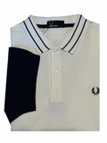 Fred Perry Polo Shirt - Textured Colour Block Shirt - Weiss -
