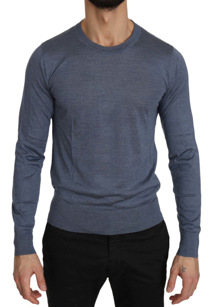 Blue Crew Neck Blue Silk Pullover Top Sweater