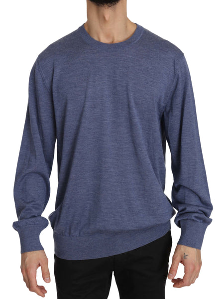 Blue Crew Neck Cashmere Pullover Sweater