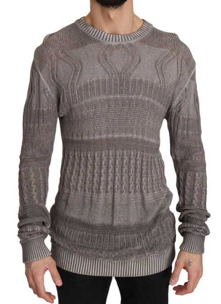 Gray Slim Fit Crew Pullover Sweater