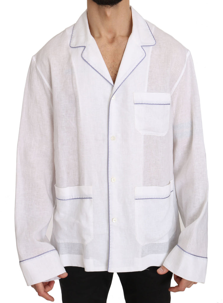 White Purple Linen Cotton  Shirt