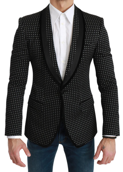 Black Embroidered Single Breasted Blazer
