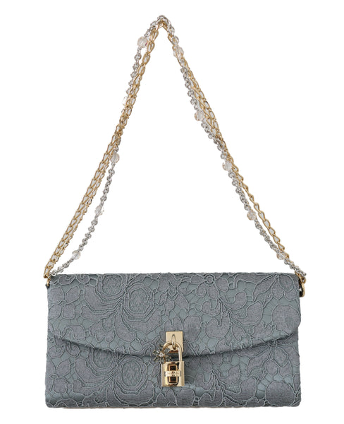 Blue Pizzo Taormina Lace Crystal Padlock Clutch Bag