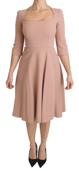 Pink 3/4 Sleeves A-line Viscose Dress