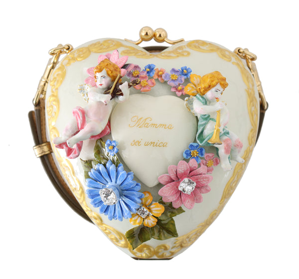 Heart Flower MAMMA Angel Crystal Hand Painted Bag