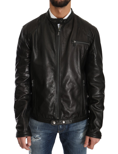 Black Leather Biker Zipper Motorcycle Mens Jacket