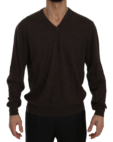 Brown Cashmere V-neck Pullover Top Sweater