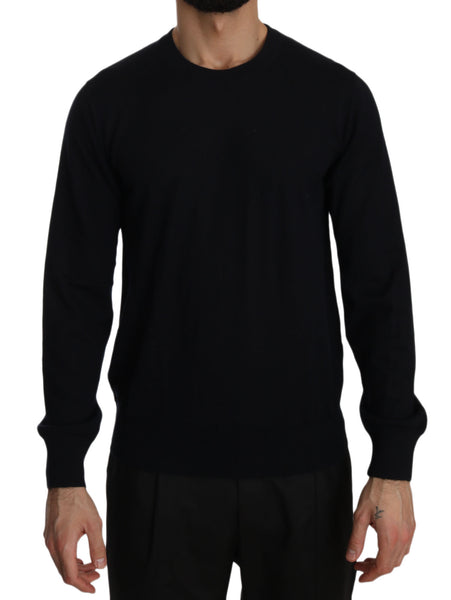Black Cashmere Crewneck Pullover Sweater