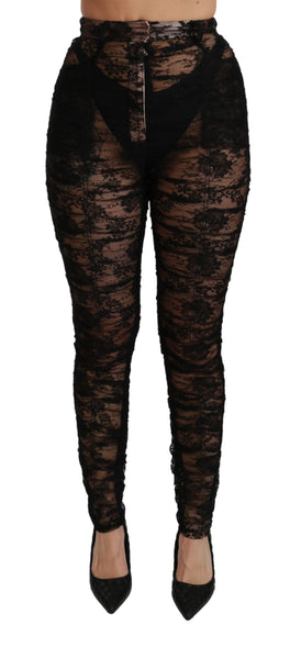 Black Lace High Waist Skinny Trouser Pants