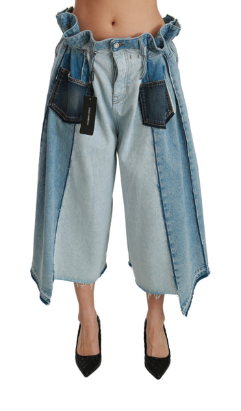 Blue Asymmetrical Wide Leg Denim Cotton Jeans
