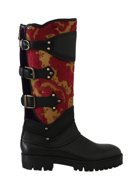 Black Leather Brocade Studded Boots