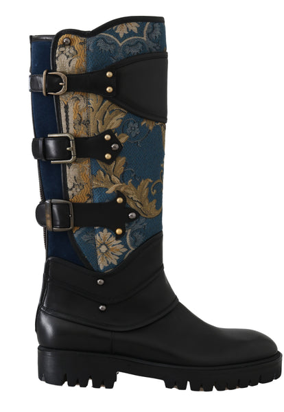 Shoes Black Blue Leather Brocade Stud Boots