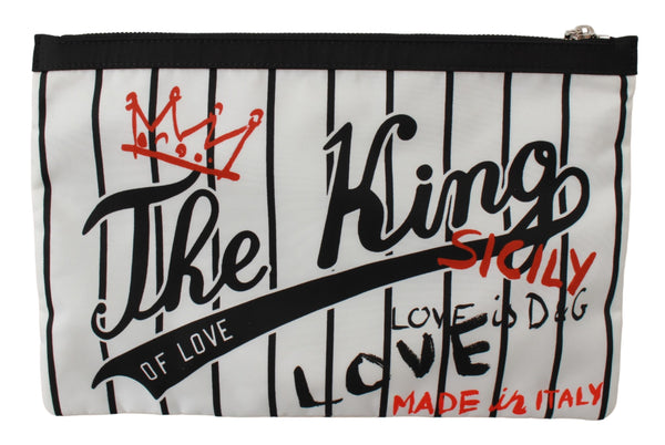 White The King Of Love Print Hand Toiletry Bag