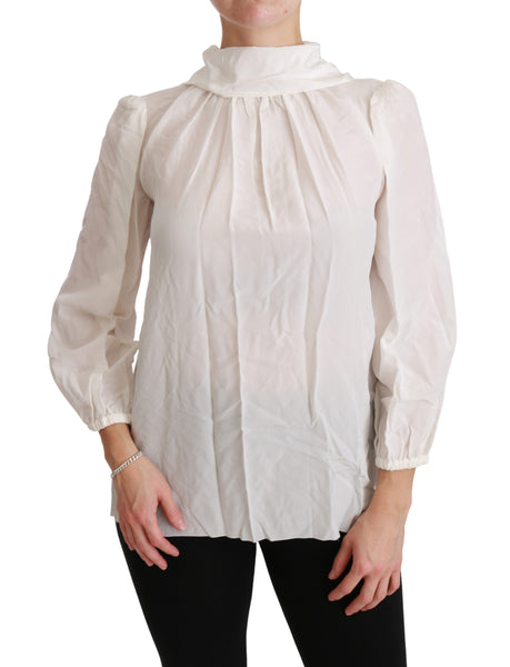 White Turtle Neck Blouse Shirt Silk Top