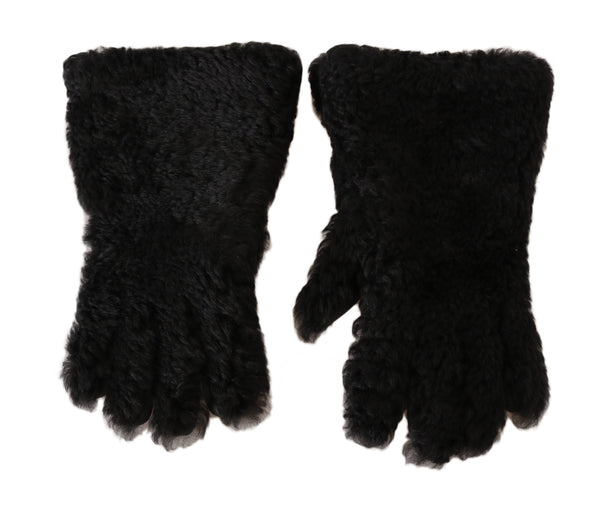 Black Deerskin Lapin Lamb Fur Warm Gloves
