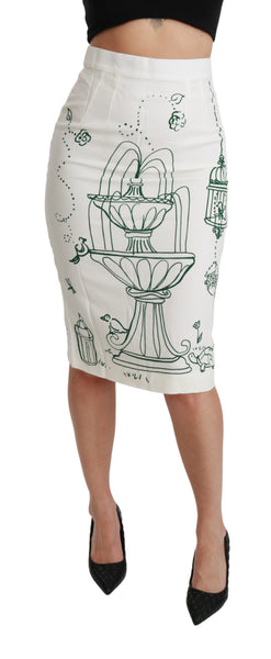 Green Fairy Tale Print Stretch White Skirt