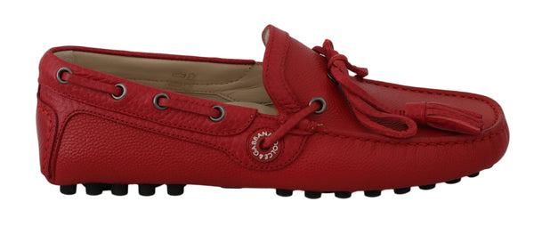 Red Leather Flat Loafers Moccasin Mens Shoes