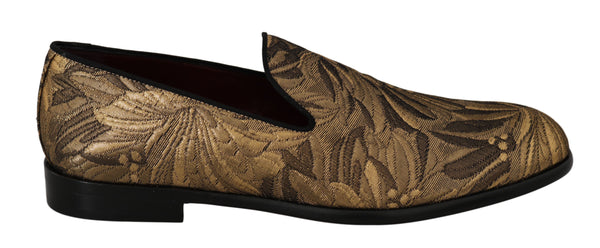 Gold Bronze Jacquard Loafers Dress  Shoes