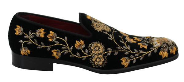 Black Velvet Floral Sequined Loafers Shoes