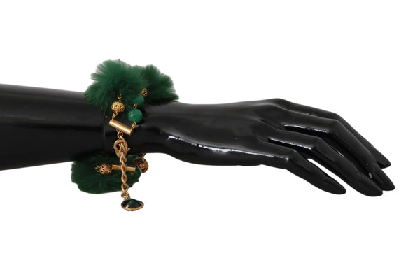 Bracelet Chain Gold Brass Green Crystal Charm Fur