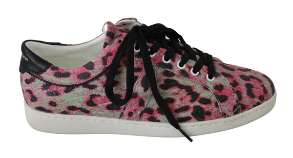 Pink Leopard Print Training Leather Flat Sneakers