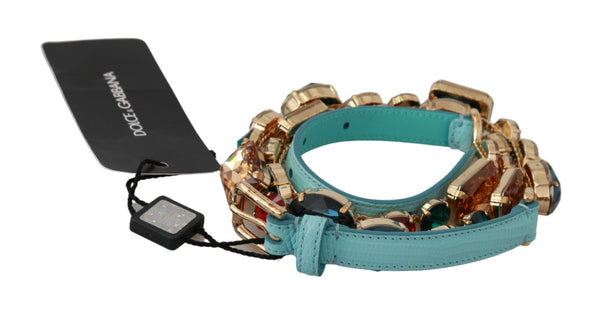 Blue Leather Multicolor Crystals Waist Belt