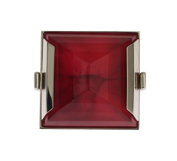 Red Stone Crystal Statement Ring