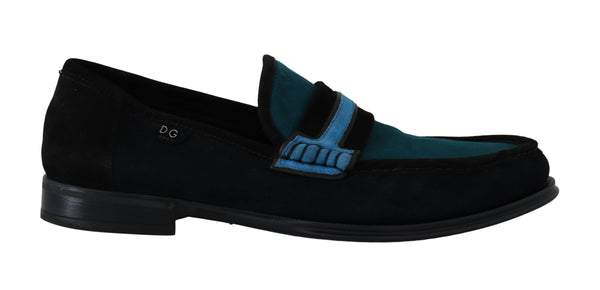 Blue Suede Goatskin Moccasins Loafers