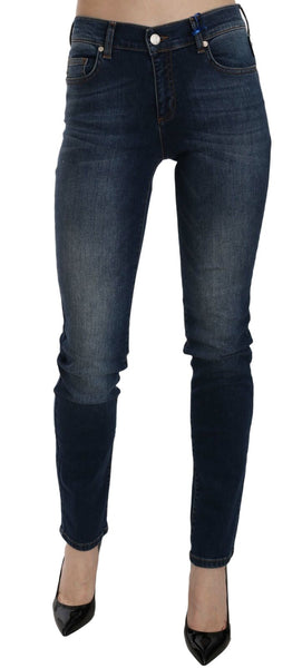 Blue Motif Skinny Leg Fit Stretch Denim Pant