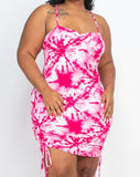 Tye-Dye Strap Ruched Dress